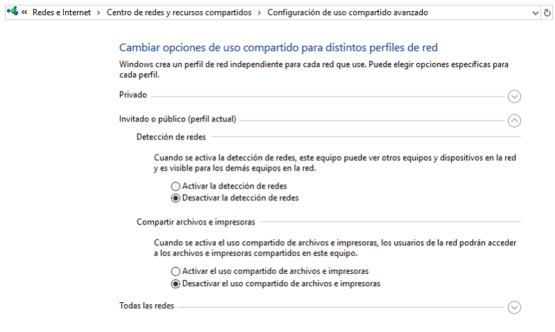 Opciones de uso compartido en Windows